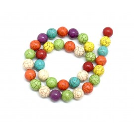 "perle ronde imitation ""Howlite"" coloris assorties 12mm pas chere"