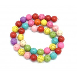 "perle ronde 10mm imitation ""Howlite"" multicolore, coloris assorties"