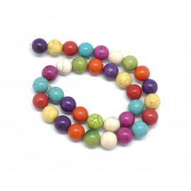 "perle ronde 12mm imitation ""Howlite"" multicolore"