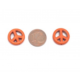 perle Peace and love orange imitation Howlite 15mm