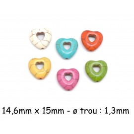 perle coeur imitation howlite multicolore 15mm
