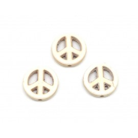 "5 perles Peace and love 15mm en pierre naturelle imitation turquoise ""Howlite"" beige blanc naturel"
