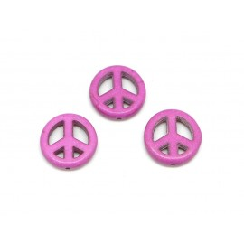 "5 perles Peace and love 15mm en pierre naturelle imitation turquoise ""Howlite"" rose violet"