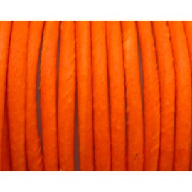 50cm de Cordon cuir 2,5mm de couleur orange fluo - Cuir