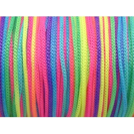 5m de fil nylon tressé 1mm multicolore fluo