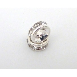 R-10 Mini Perles rondelle strass 5mm intercalaire argenté brillant