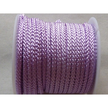 1m Cordon polyester 2mm de couleur parme, mauve brillant 2mm