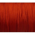 5m Fil, cordon nylon tressé plat rouge 1mm brillant, satiné