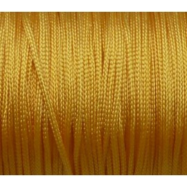5m Fil, cordon nylon tressé plat jaune or 1mm brillant, satiné