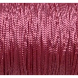 5m Fil, cordon polyester, nylon tressé plat rose 1mm brillant, satin
