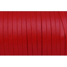 R-5m Cordon ciré plat 4mm de couleur rouge brillant