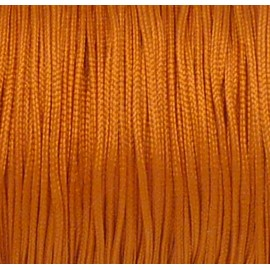 5m Fil, cordon nylon tressé plat orange rouille 1mm brillant satiné
