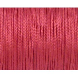 5m Fil, cordon nylon tressé plat rose vif 1mm brillant satiné