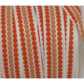 Ruban Galon plat pois orange et chair sur fond blanc 10mm de large