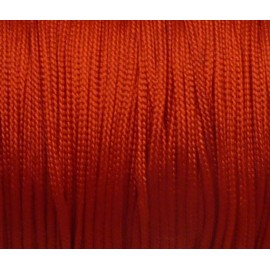 20m Fil, cordon nylon tressé plat rouge 1mm brillant, satiné