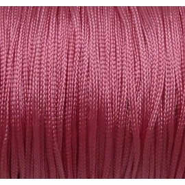 20m Fil, cordon polyester, nylon tressé plat 1mm rose brillant, satin