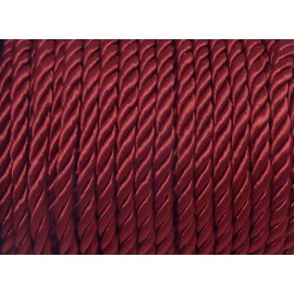 Cordon nylon mouliné de couleur grenat bordeaux 5mm