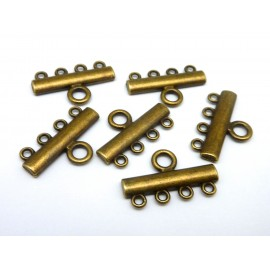 6 embouts multi rangs - 4 rangs 24mm en métal de couleur bronze