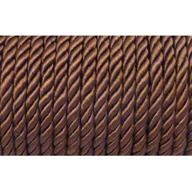 50cm Cordon nylon mouliné 5mm marron châtaigne