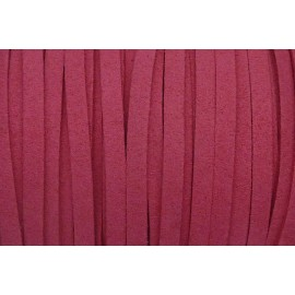 2m Cordon plat daim synthétique 5mm rose fuchsia vif