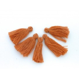 Lot de 5 Petits Pompons orange marron abricot 3cm en polyester