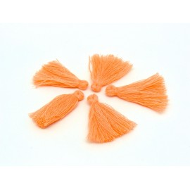 Lot de 5 Petits Pompons orange saumon 3cm en polyester
