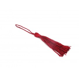 Pompon, breloque en fil polyester 10-12cm de couleur rouge bordeaux brillant