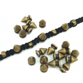 3 perles connecteur pointe, spike 12mm en métal bronze - Punk Rock