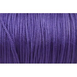 5m Fil, cordon nylon tressé plat 1mm violet brillant satiné