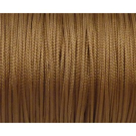 R-5m Fil, cordon nylon tressé plat 1mm marron, fauve brillant satiné