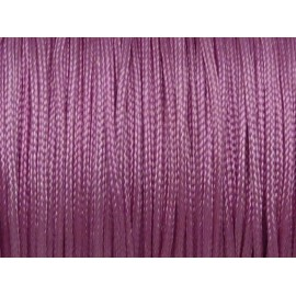 5m Fil, cordon nylon tressé plat 1mm rose lilas brillant satiné
