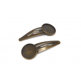 Barrette support cabochon 16mm en métal de couleur bronze