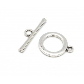 Lot de 2 Grands Fermoirs rond en T toggle en métal argenté lisse 25,4mm