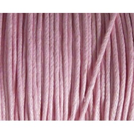 Cordon coton ciré rose pâle 1mm