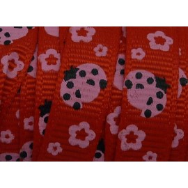 1m Ruban coccinelle rose sur fond rouge 10mm de large