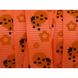 1m Ruban coccinelle marron sur fond orange fluo 10mm de large