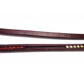 20cm Cuir regaliz  rainuré 10mm x 6,7mm bordeaux, grenat