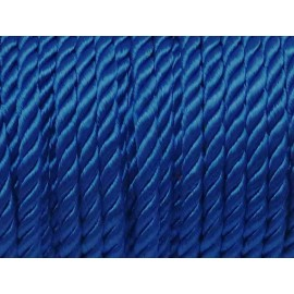 Cordon 5mm nylon mouliné bleu roi