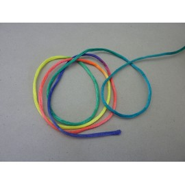 Cordon queue de rat 2mm fluo multicolore arc en ciel