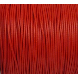 5m de Cordon polyester enduit 1mm souple rouge brillant