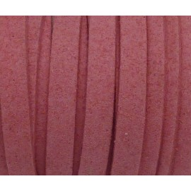 Cordon plat daim synthétique rose 5mm