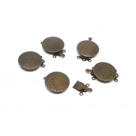 Fermoirs multirangs rond 17,7mm 3 rangs en métal de couleur bronze