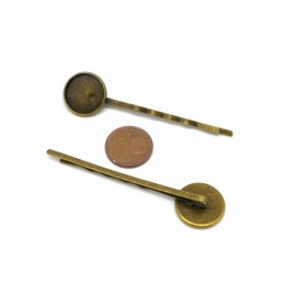 Barrette support cabochon 14mm bronze