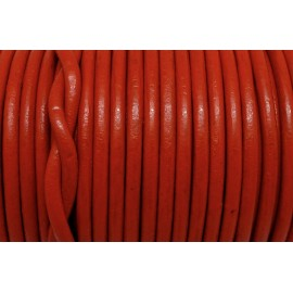 Cordon cuir rond rouge 4mm