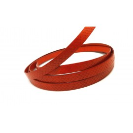 Lanière cuir plat 10mm texturé serpent orange