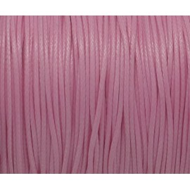 5m de Cordon polyester enduit ciré 1mm souple rose barbe à papa brillant