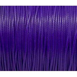 5m de Cordon polyester enduit ciré 1mm souple violet  brillant
