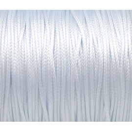 5m de Cordon polyester enduit ciré 1mm souple blanc brillant