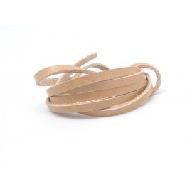 1m Cuir plat largeur 4mm beige marron clair naturel - CUIR VERITABLE - 4mm x 1,7mm
