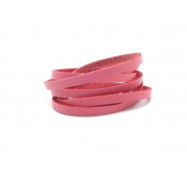 1m Cuir plat largeur 4mm rose - CUIR VERITABLE - 4mm x 1,6mm
